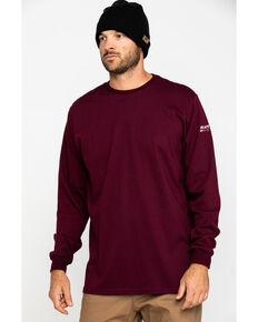 Ariat Men's Wine FR O&G Graphic Long Sleeve Work T-Shirt , Wine, hi-res