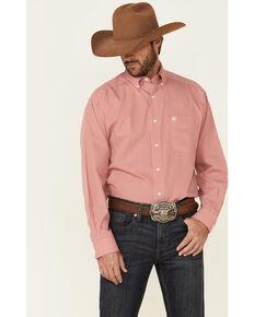 Ariat Men's Wrinkle Free Gaits Small Plaid Long Sleeve Western Shirt , Orange, hi-res