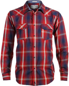 Cody James Men's 8 Seconds Plaid Long Sleeve Shirt, Russet, hi-res