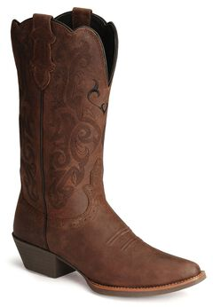Justin Stampede Western Cowgirl Boots with Rubber Sole - Snip Toe, Dark Brown, hi-res