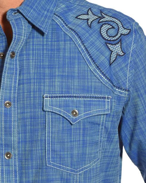 Wrangler Rock 47 Men's Blue Rancher Long Sleeve Western Snap Shirt, Blue, hi-res