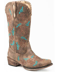 Roper Women's Floral Embroidery Western Boots - Snip Toe, Brown, hi-res