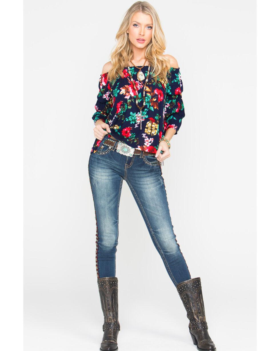 Panhandle Women's Floral Print Crinkle Off-the-Shoulder Peasant Top, Navy, hi-res