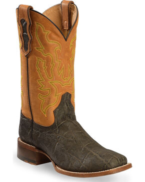 Double H Men's Cattle Barron Elephant Print Western Boots - Square Toe, Dark Brown, hi-res