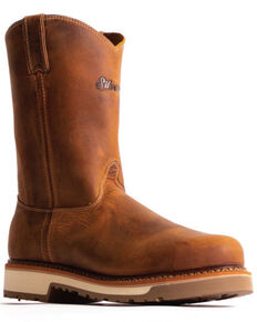 Silverado Men's Pull-On Western Work Boots - Soft Toe, Tan, hi-res