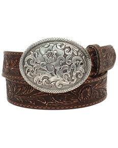 Nocona Women's Belle Forche Floral Embossed Belt, Brown, hi-res