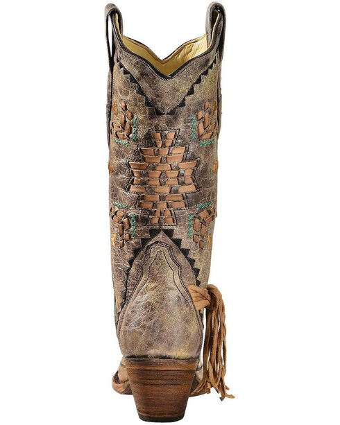 Corral Women's Cango Tobacco Laser Woven Cowgirl Boots - Snip Toe, Tobacco, hi-res