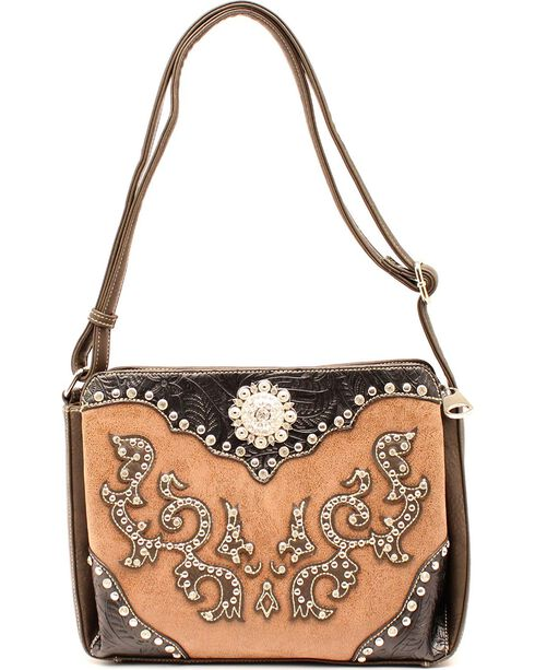 Blazin Roxx Small Scroll Overlay Shoulder Bag, Tan, hi-res