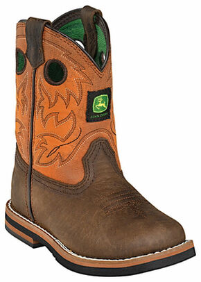John Deere Toddler Boys' Johnny Popper Orange Western Boots - Square Toe, Brown, hi-res