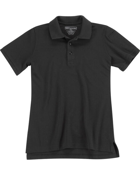 5.11 Tactical Womens Utility Short Sleeve Polo, Black, hi-res