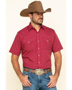 Ely Cattleman Men's Burgundy Check Plaid Short Sleeve Western Shirt , , hi-res