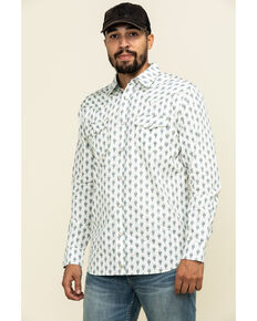 Moonshine Spirit Men's Tibal Mini Paisley Print Long Sleeve Western Shirt , White, hi-res