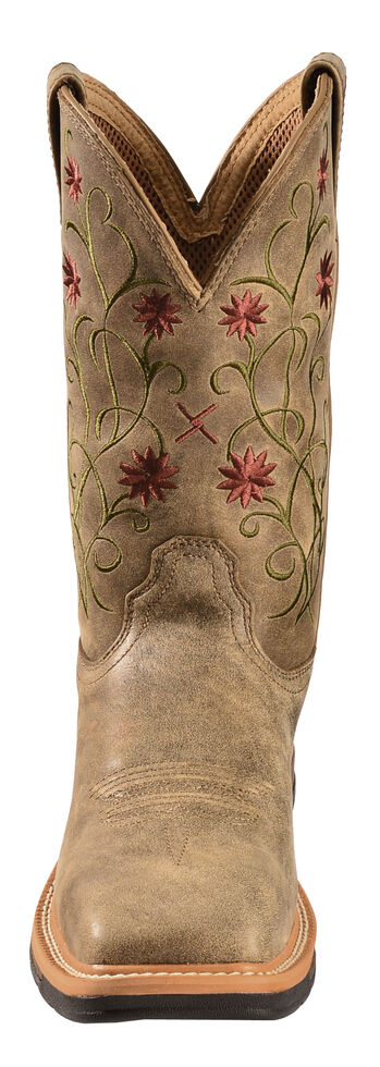 Twisted X Women's Floral Stitched Roughstock Cowgirl Boots - Steel Toe, Bomber, hi-res