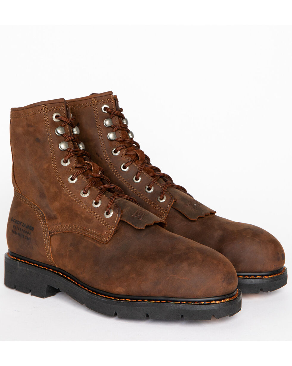 """Cody James Men's 8"""" Lace Up Kiltie Waterproof Work Boots - Composite Toe, Brown, hi-res"""