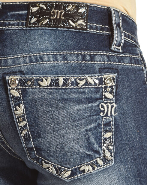 Miss Me Women's Blue Floral Embroidered Border Jeans - Boot Cut , Blue, hi-res
