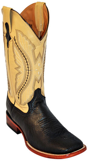 Ferrini Men's Smooth Quill Ostrich Exotic Boots - Square Toe , Black, hi-res