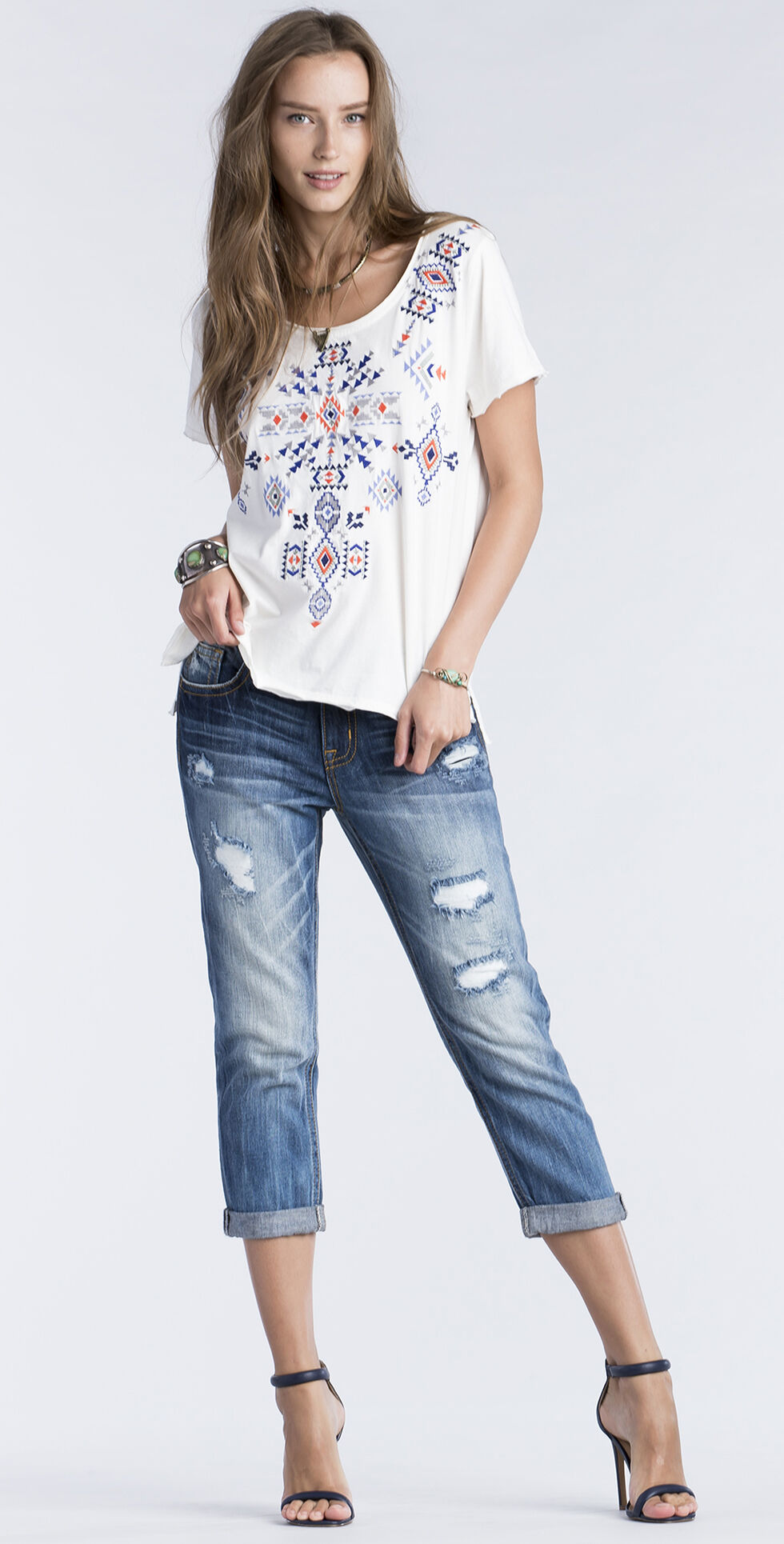 Miss Me Women's White Embroidered Short Sleeve Top , , hi-res