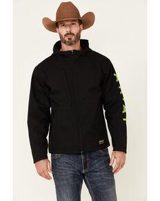 Ariat Men's Black & Lime Rebar Stretch Canvas Softshell Logo Zip-Front Work Jacket , Bright Green, hi-res