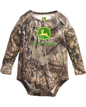 John Deere Infant Boy's Mossy Oak Long Sleeve Onesie, Blue, hi-res