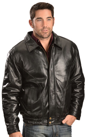 Vintage Leather Zip Out Lining Black Lambskin Bomber Jacket, Black, hi-res
