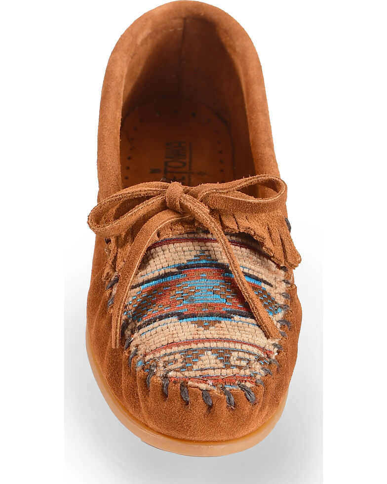 Minnetonka El Paso Woven Southwestern Moccasins, Brown, hi-res