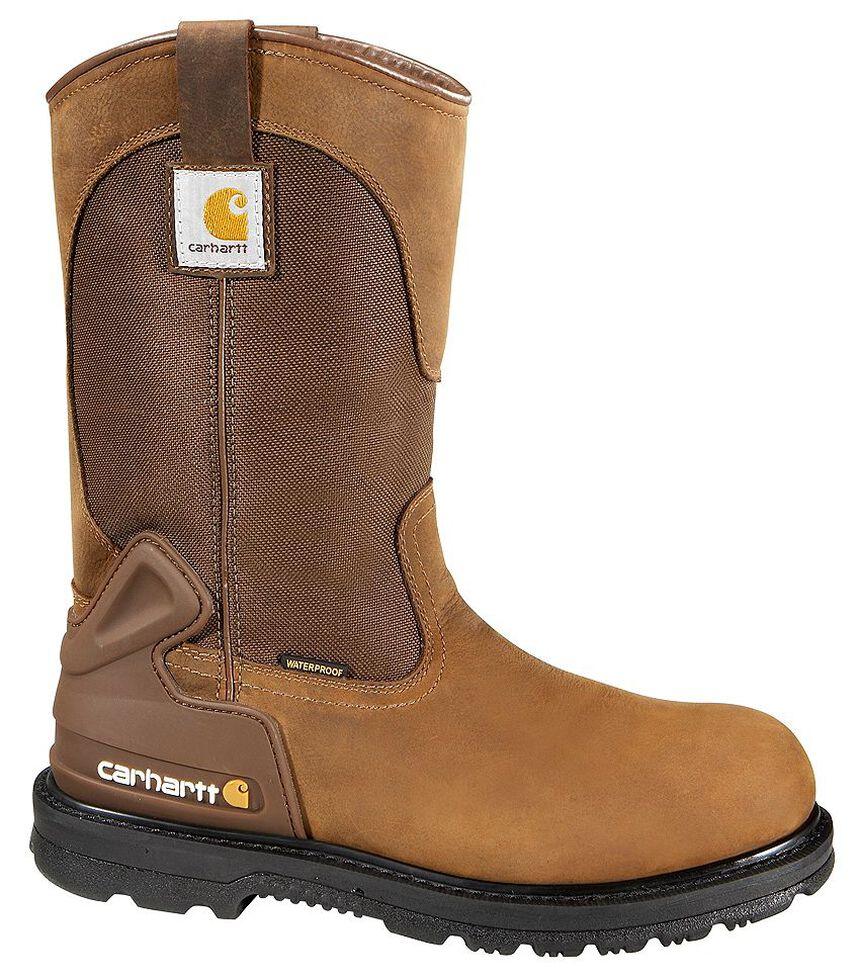 Carhartt Water Repellent Wellington Pull-On Work Boots - Steel Toe, Bison, hi-res