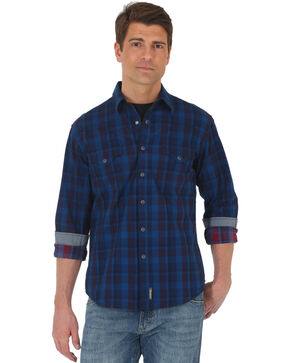 Wrangler Retro Men's Blue Premium Long Sleeve Shirt - Tall, Red, hi-res