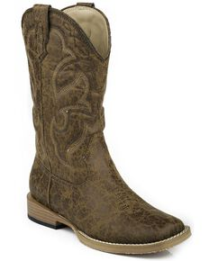 Roper Youth Boys' Distressed Faux Leather Cowboy Boots - Square Toe, Tan, hi-res