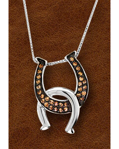 Kelly Herd Sterling Silver Painted Black Interlocking Horseshoe Necklace, Silver, hi-res