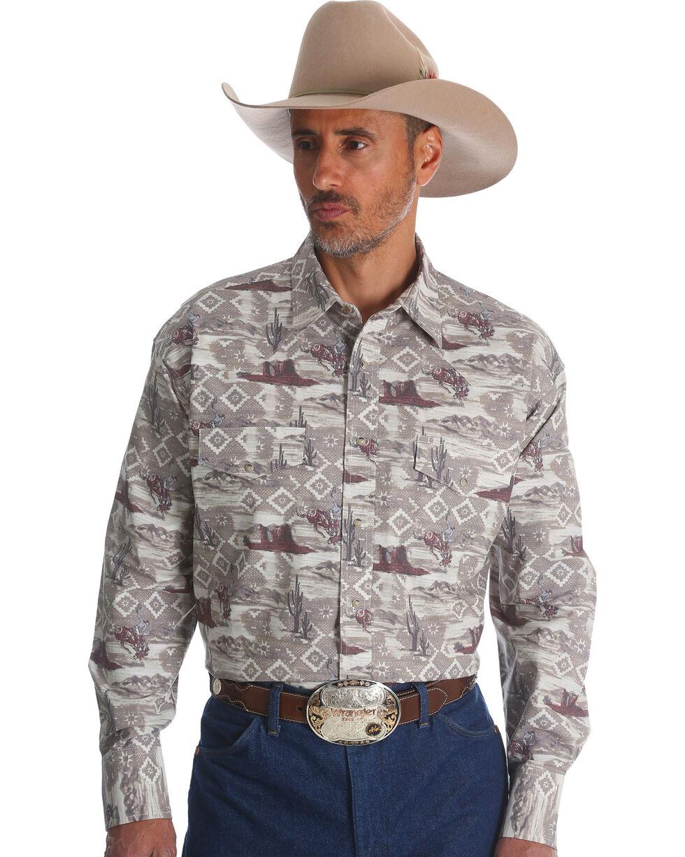 Wrangler Men's Khaki Checotah Horse Print Long Sleeve Shirt , Beige/khaki, hi-res