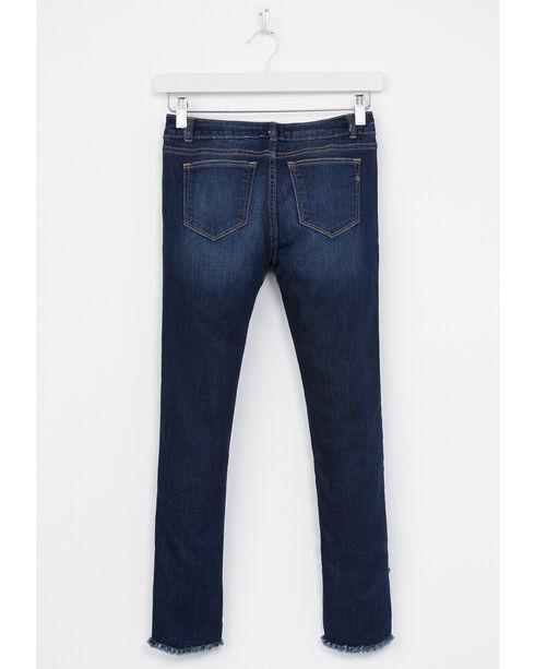 Miss Me Girls' Indigo Double Fray Hem Jeans - Skinny , Indigo, hi-res