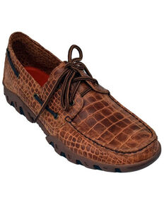 Ferrini Men's Honey Croc print Loafer Shoes - Moc Toe, Honey, hi-res
