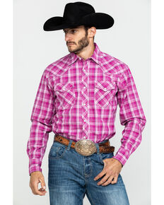 Wrangler 20X Men's Advanced Comfort Magenta Plaid Snap Long Sleeve Western Shirt , Pink, hi-res