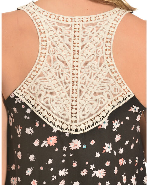 Derek Heart Print Crochet Back Trapeze Dress , Black, hi-res