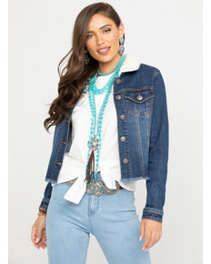 Shyanne Women's Sherpa Collar Denim Jacket, Blue, hi-res