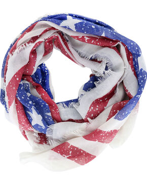 Shyanne Women's Distressed American Flag Scarf, Multi, hi-res