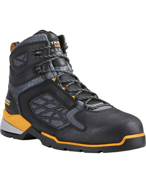 "Ariat Men's Rebar Flex 6"" Black Work Boots - Soft Toe, Black, hi-res"