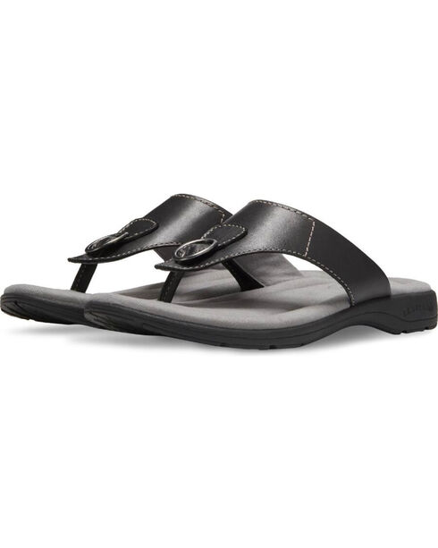 Eastland Women's Black Lottie Thong Sandals , Black, hi-res