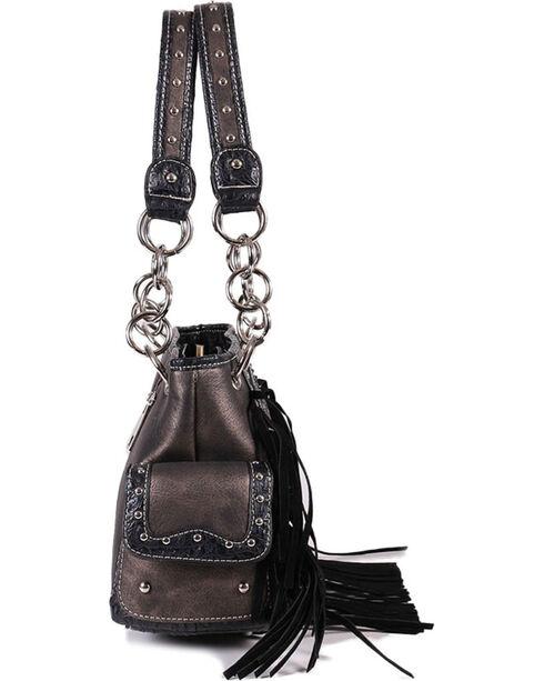 Savana Women's Sugar Skull Fringe Trimmed Handbag , Silver, hi-res