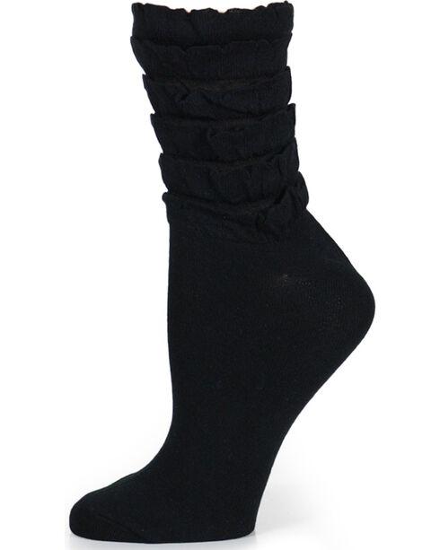 K. Bell Women's Black Mini Ruffles Crew Socks , Black, hi-res