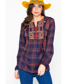 New Direction Women's Embroidered Plaid Long Sleeve Blouse , Blue, hi-res