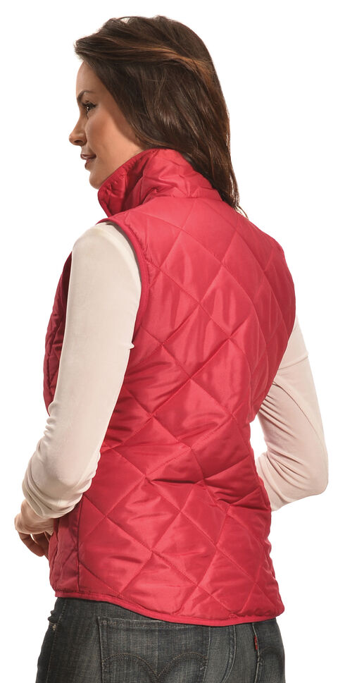 Jane Ashley Women's Coral Diamond Quilted Princess Vest , Coral, hi-res