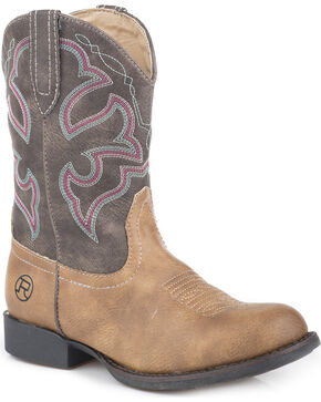 Roper Girls' Classic Western Cowgirl Boots - Round Toe, Tan, hi-res