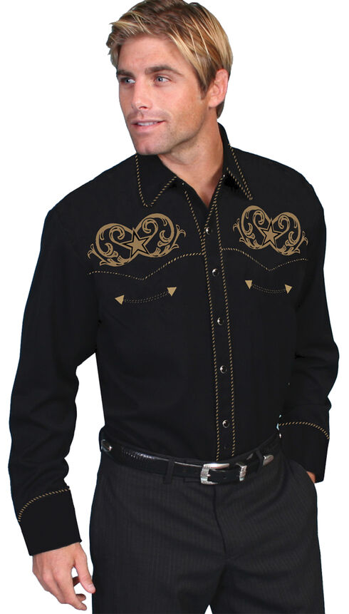 Scully Embroidered Star Scroll Shirt - Big and Tall, Black, hi-res