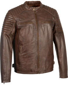 Milwaukee Leather Men's Quilted Shoulders Snap Collar Leather Jacket - 3X, Brown, hi-res