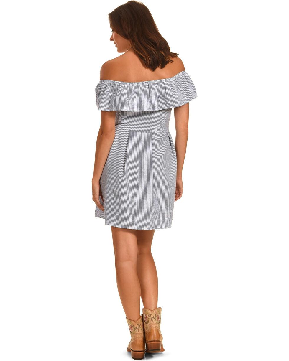 Ces Femme Women's Off The Shoulder Stripe Dress, Blue, hi-res