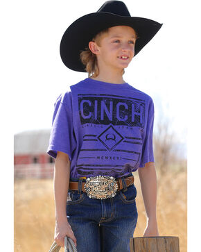 Cinch Boys' Classic Jean Co. Short Sleeve Tee, Purple, hi-res
