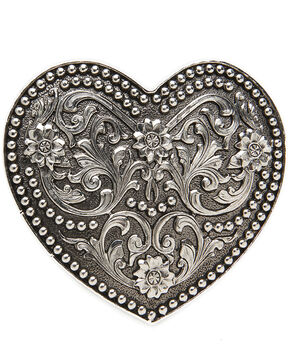AndWest Women's Small Silver Scrolling Heart Belt Buckle, Silver, hi-res