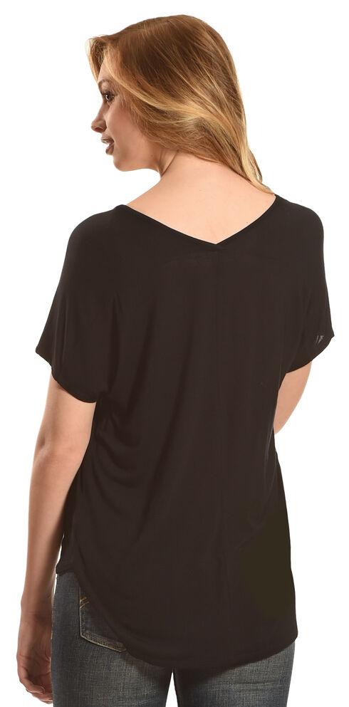 Derek Heart Women's Extended Cap Sleeve Hi Low Shirt - Black, Black, hi-res