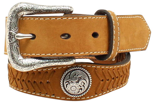 Ariat Boys' Scallop Round Concho Belt, Med Brown, hi-res